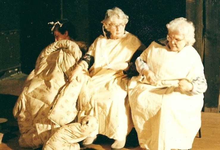 Joan Godfrey, Nell Cotterell and Aggie Harwood in 1985 Rotherhithe Theatre Workshop production of 'Now the day is over'